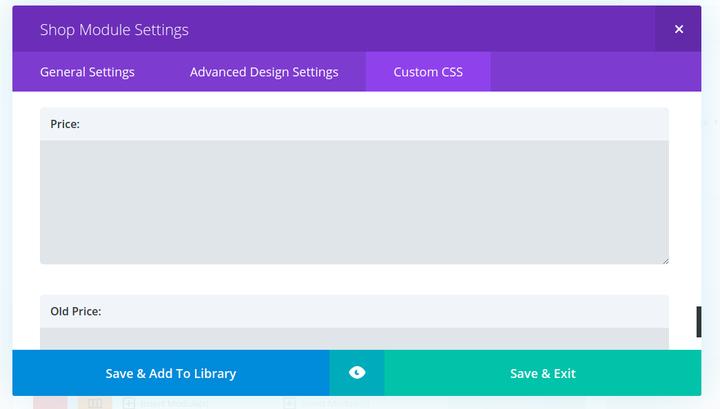 divi builder custom css screen