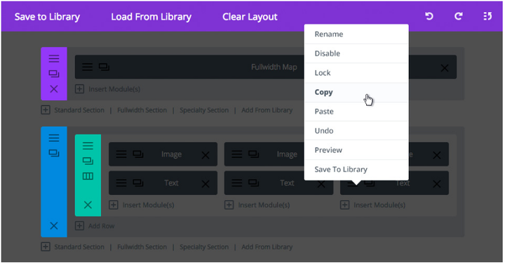 divi builder module library