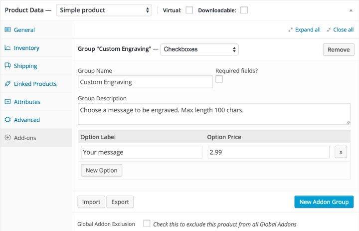 WooCommerce product add-on plugin screenshot