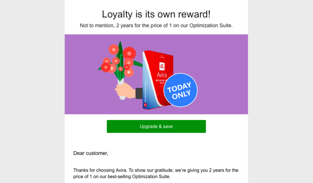 avira marketing email