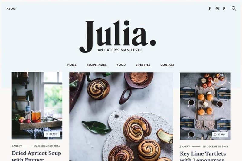 Julia Food Blogging Theme