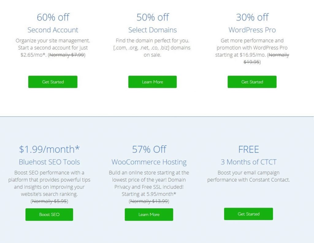 BlueHost's Black Friday Cyber Monday prices