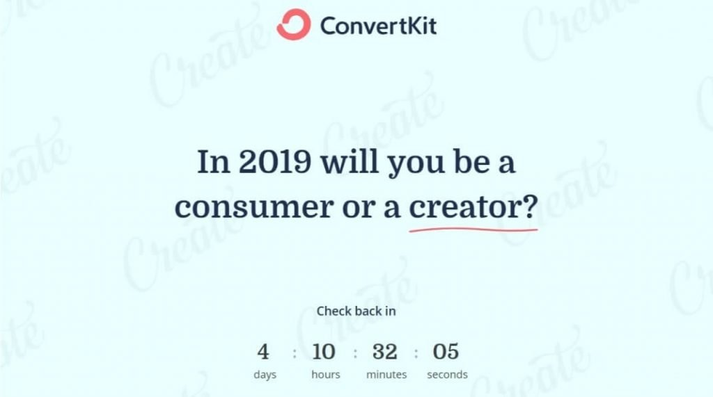 ConvertKit's Black Friday countdown
