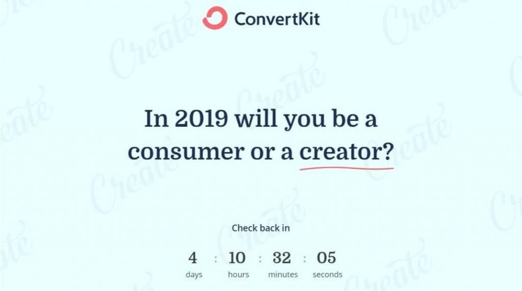 ConvertKit's Black Friday countdown