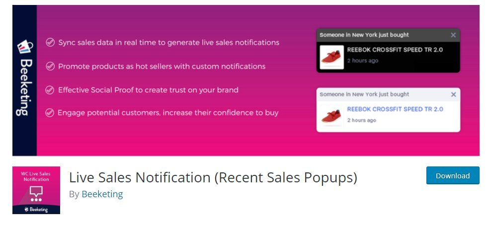 live sales notifications