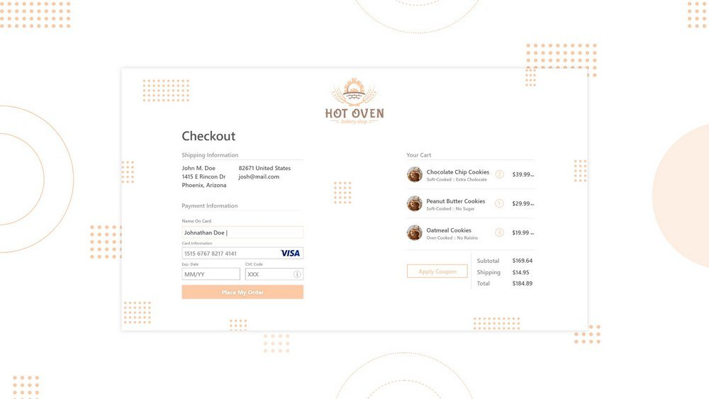 Bake Shop Checkout Page Concept