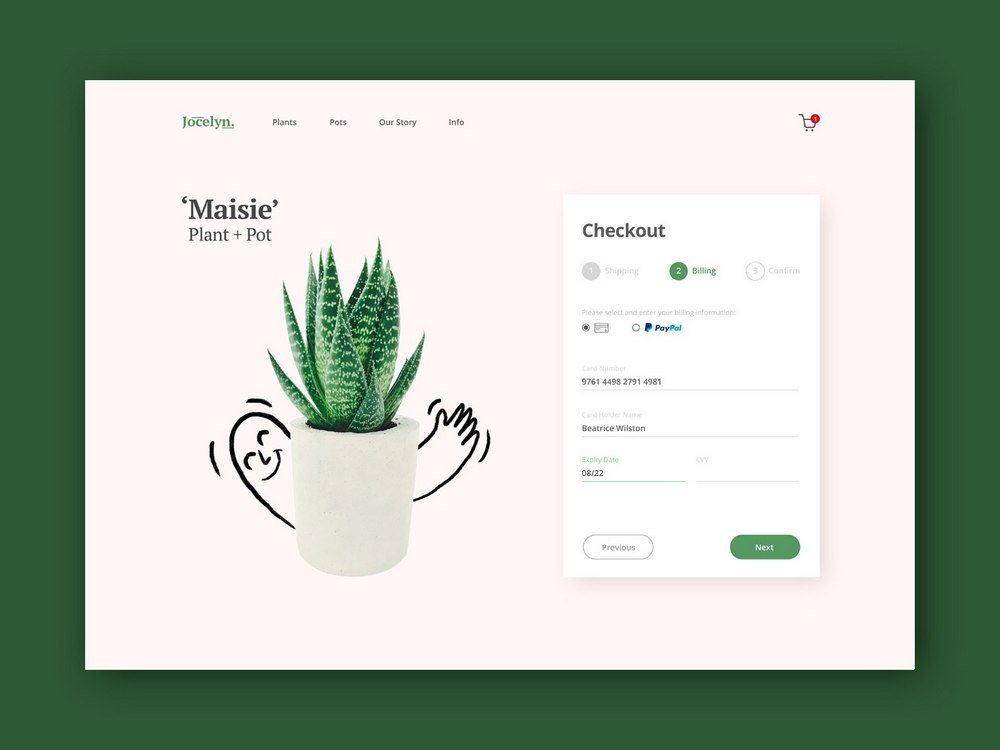 Furniture Store Checkout Page Concept