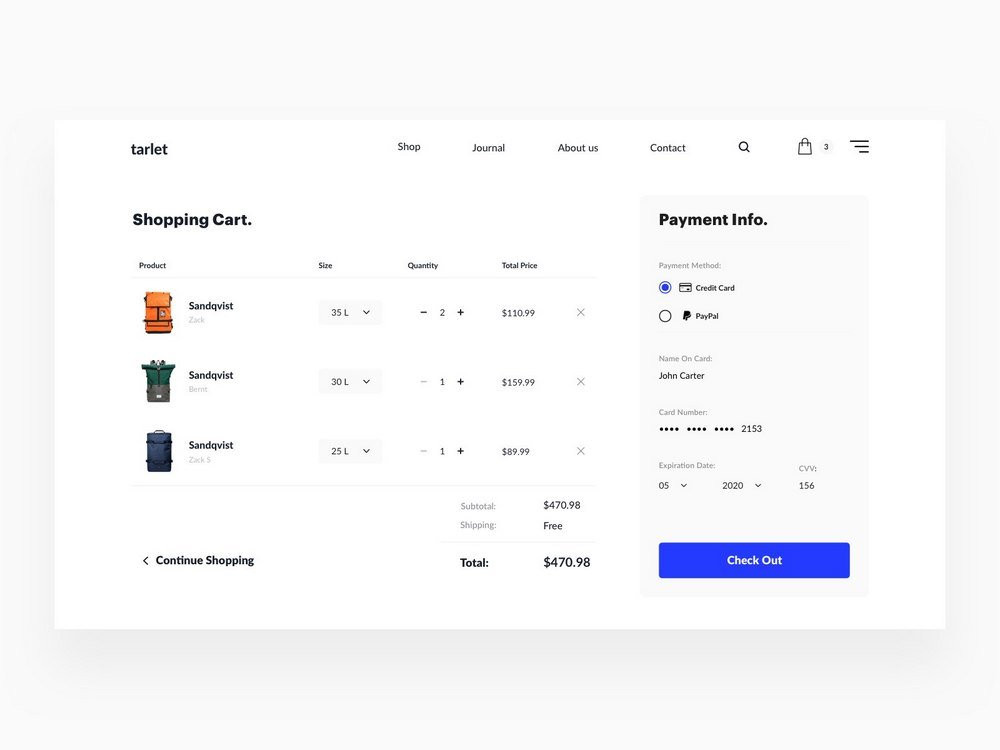 Minimal Checkout Page Concept