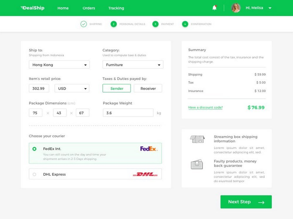Online Store Checkout Page Concept