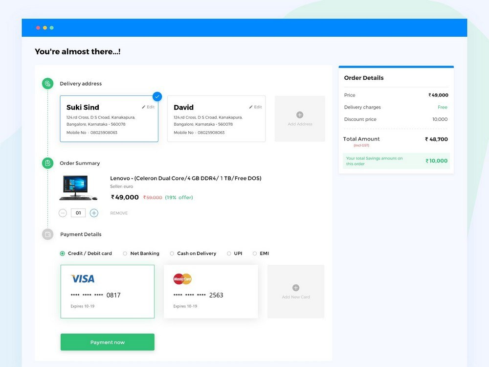 Retail Store Checkout Page Concept