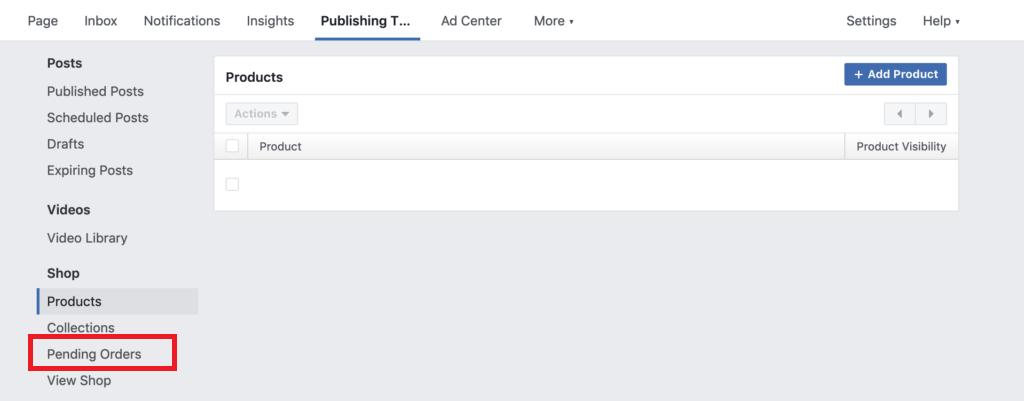 Facebook store pending orders