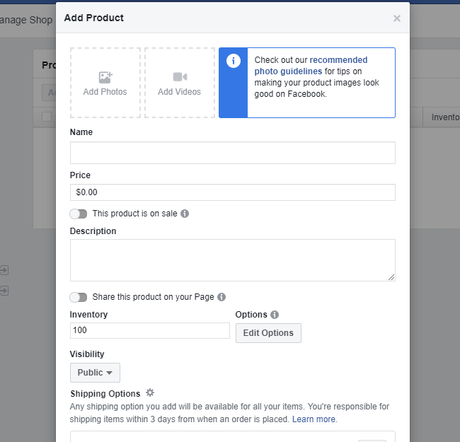 Facebook store product form