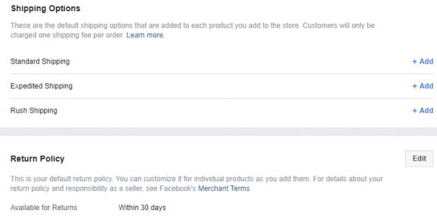 Facebook store shipping