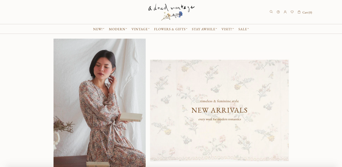 Adored vintage Shopify site