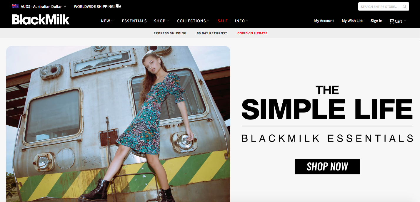 Blackmilk Shopify site