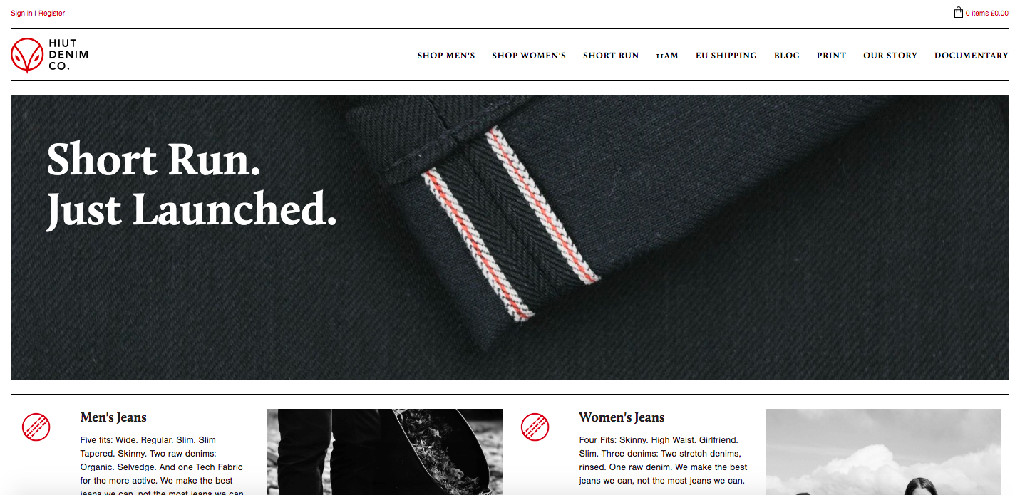 Hiut Denim Co. Shopify site