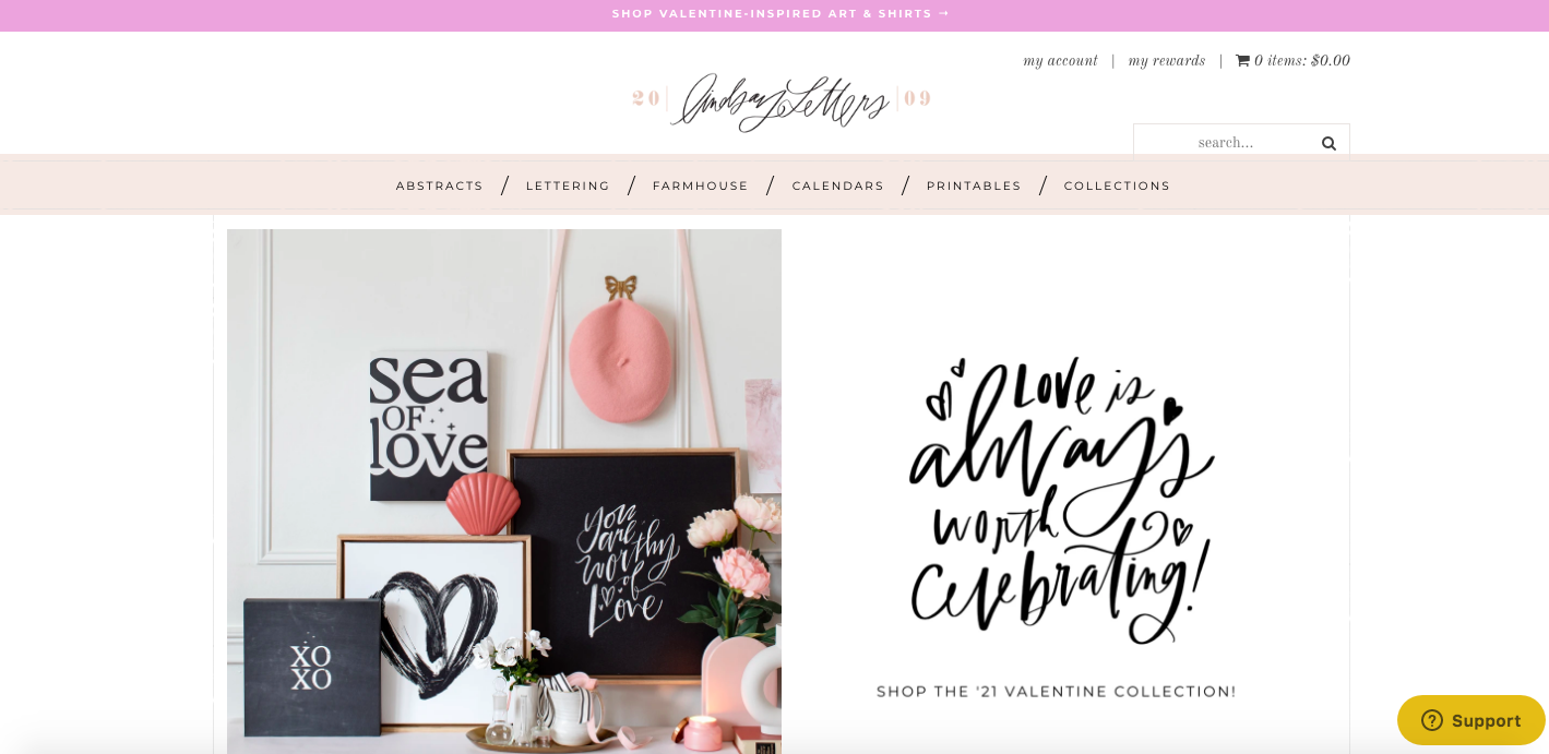 Lindsay Letters Shopify site