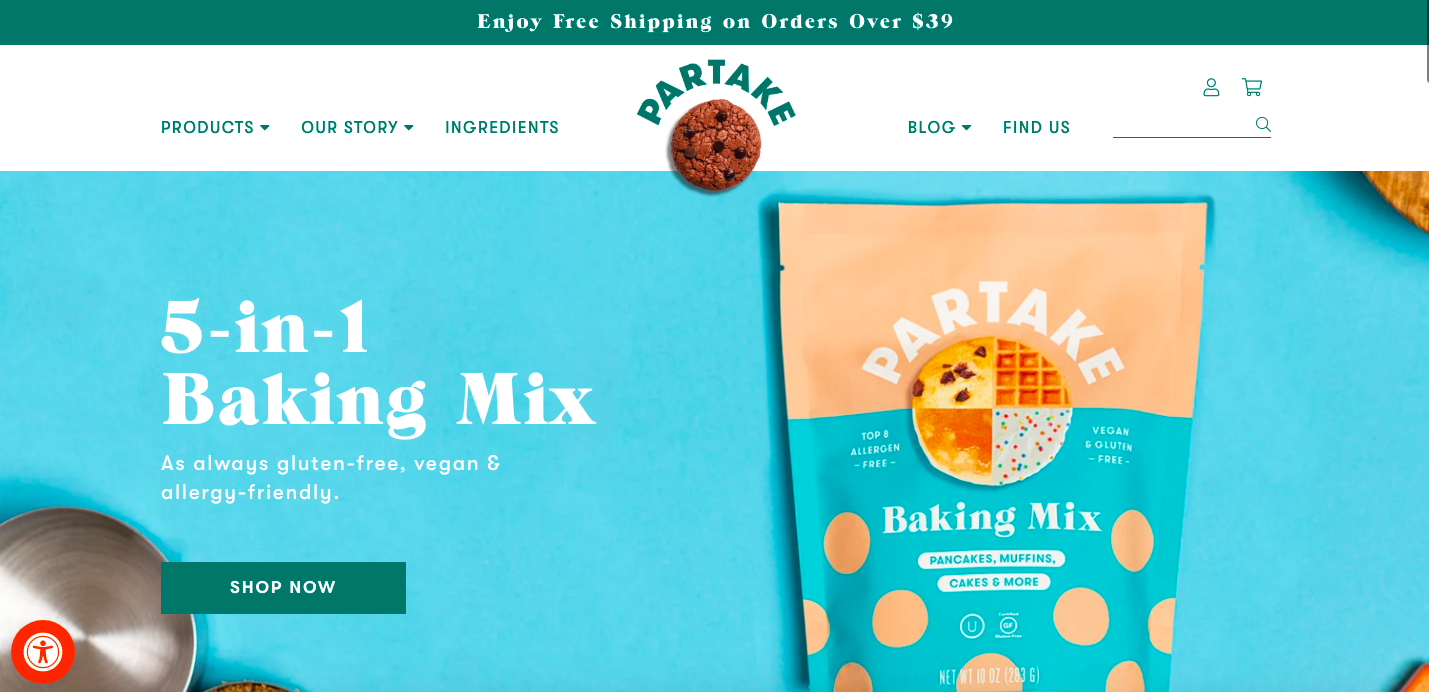 Partake foods Shopify site