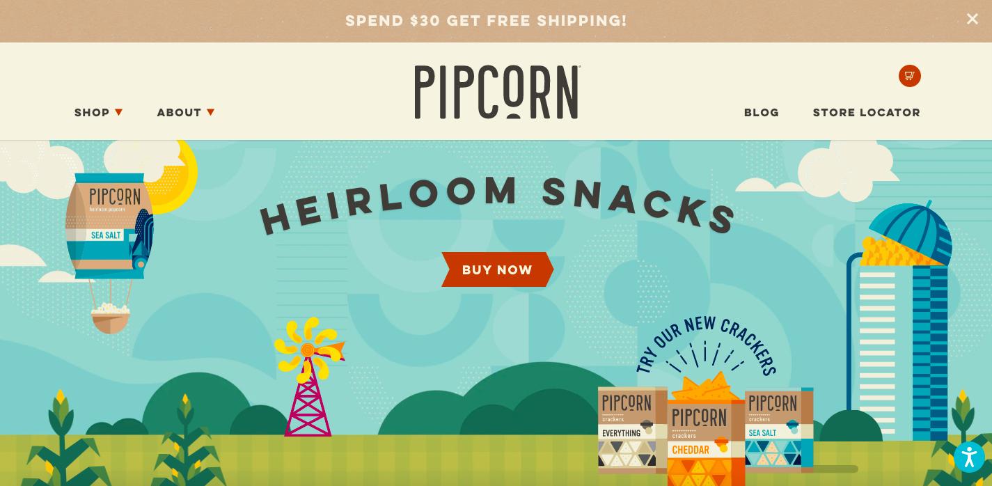 Pipcorn Shopify site