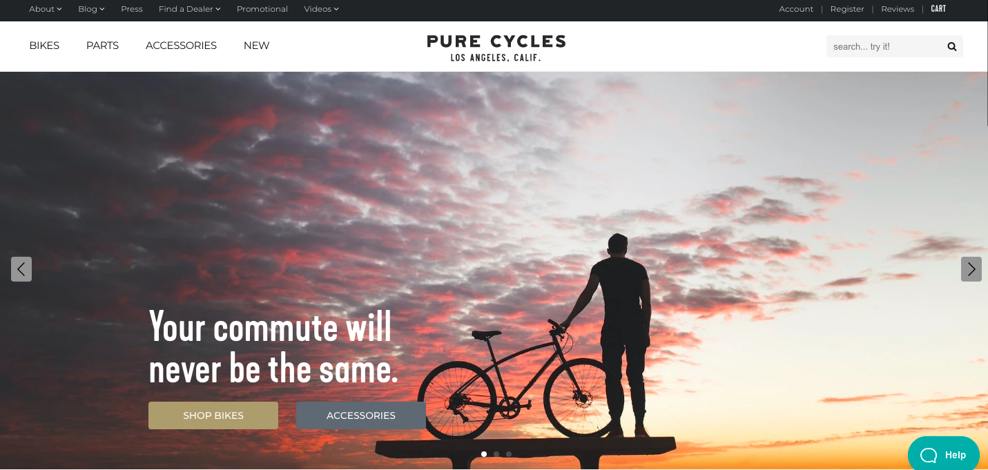 Pure Cycles Shopify site