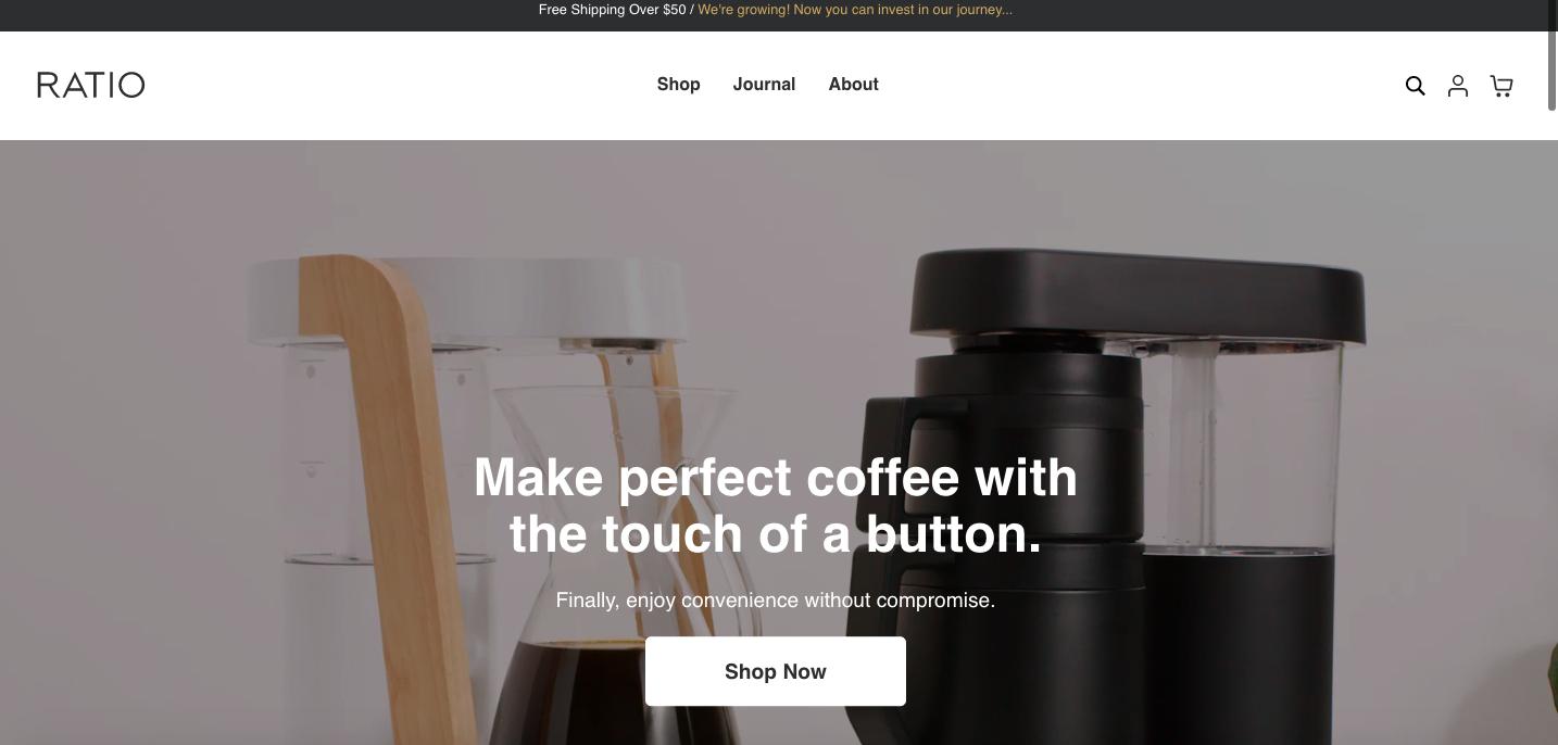 Ratio Coffee Shopify site