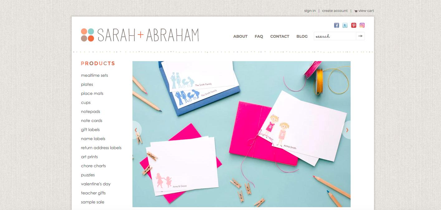 Sarah + Abraham Shopify site