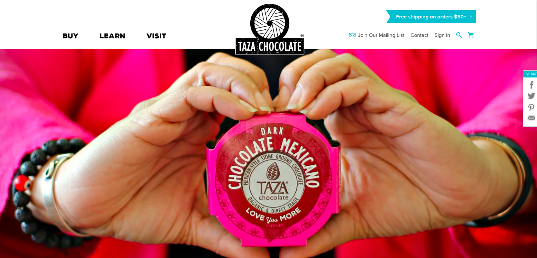 Taza Chocolate Shopify site