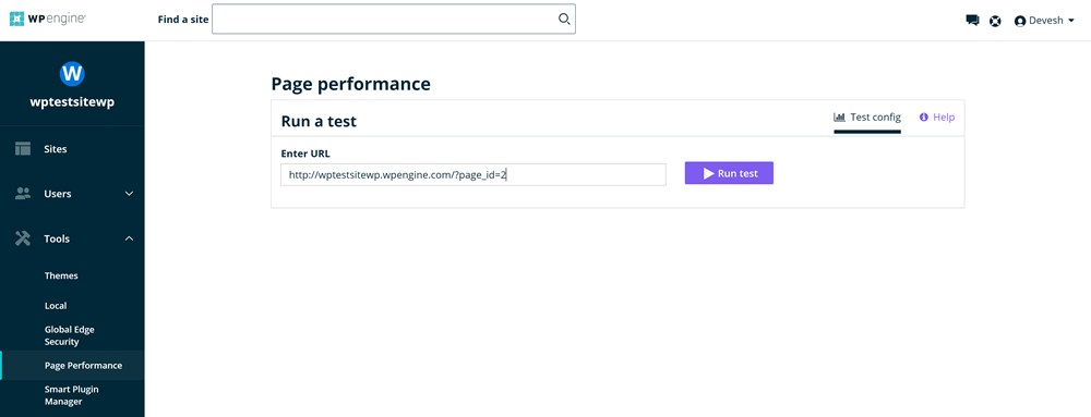 WP Engine review: page performance tool