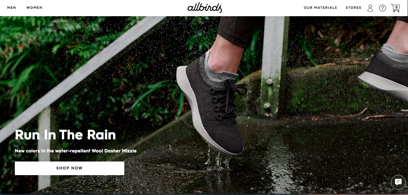 Allbirds ecommerce website design
