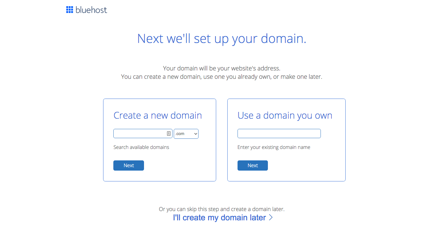Bluehost choose domain