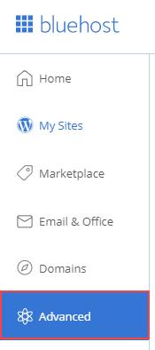 Bluehost admin menu
