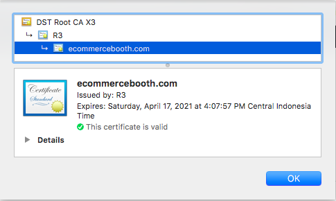 Site certificate info