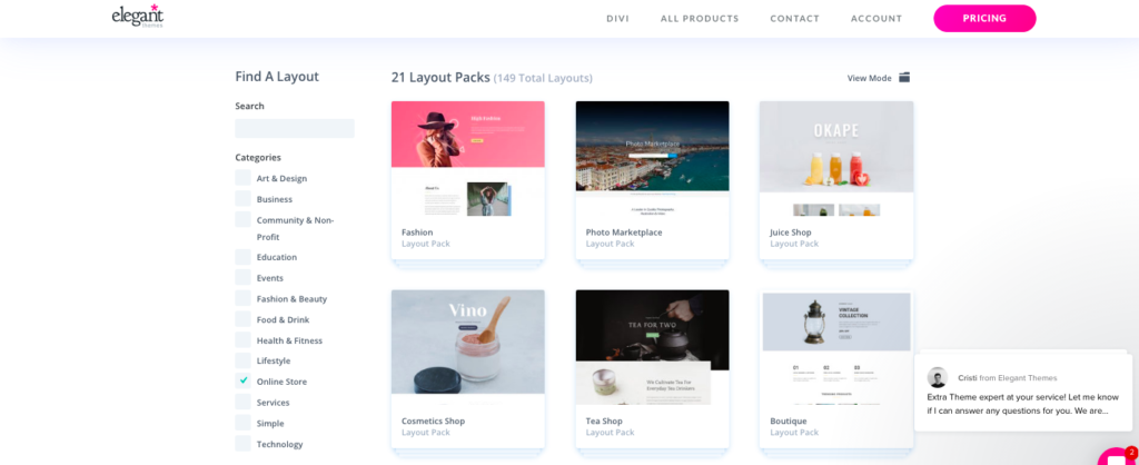 Divi Shop layouts