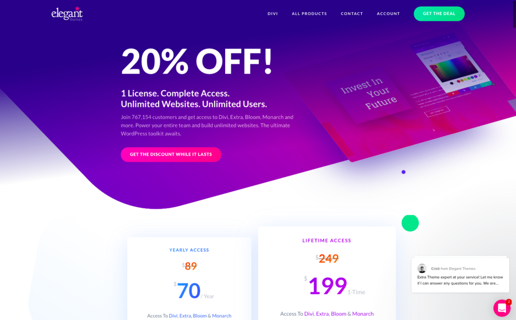 Elegant Themes 20% discount coupon code