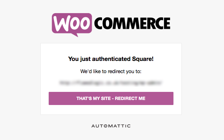 Square authenticated with WooCommerce