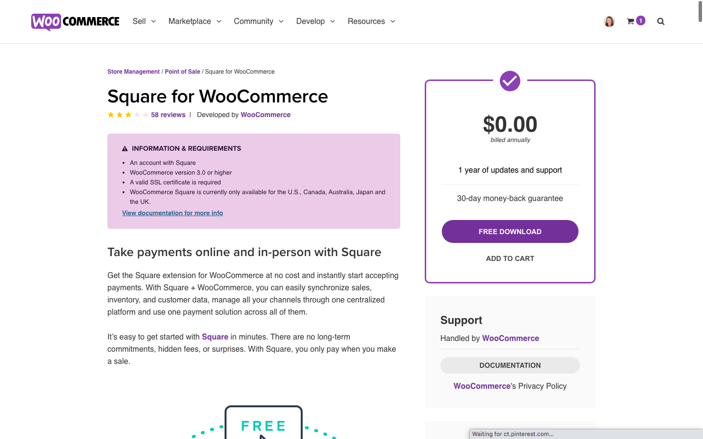 Download Square Woocommerce extenstion