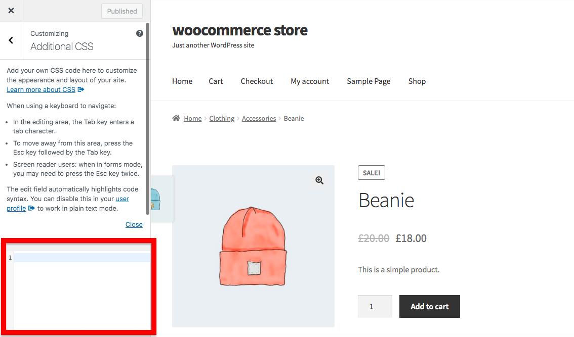Edit CSS in WooCommerce