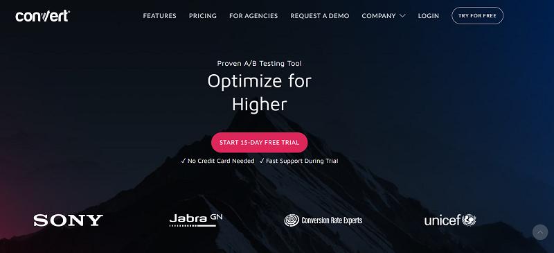 Convert A/B testing tool